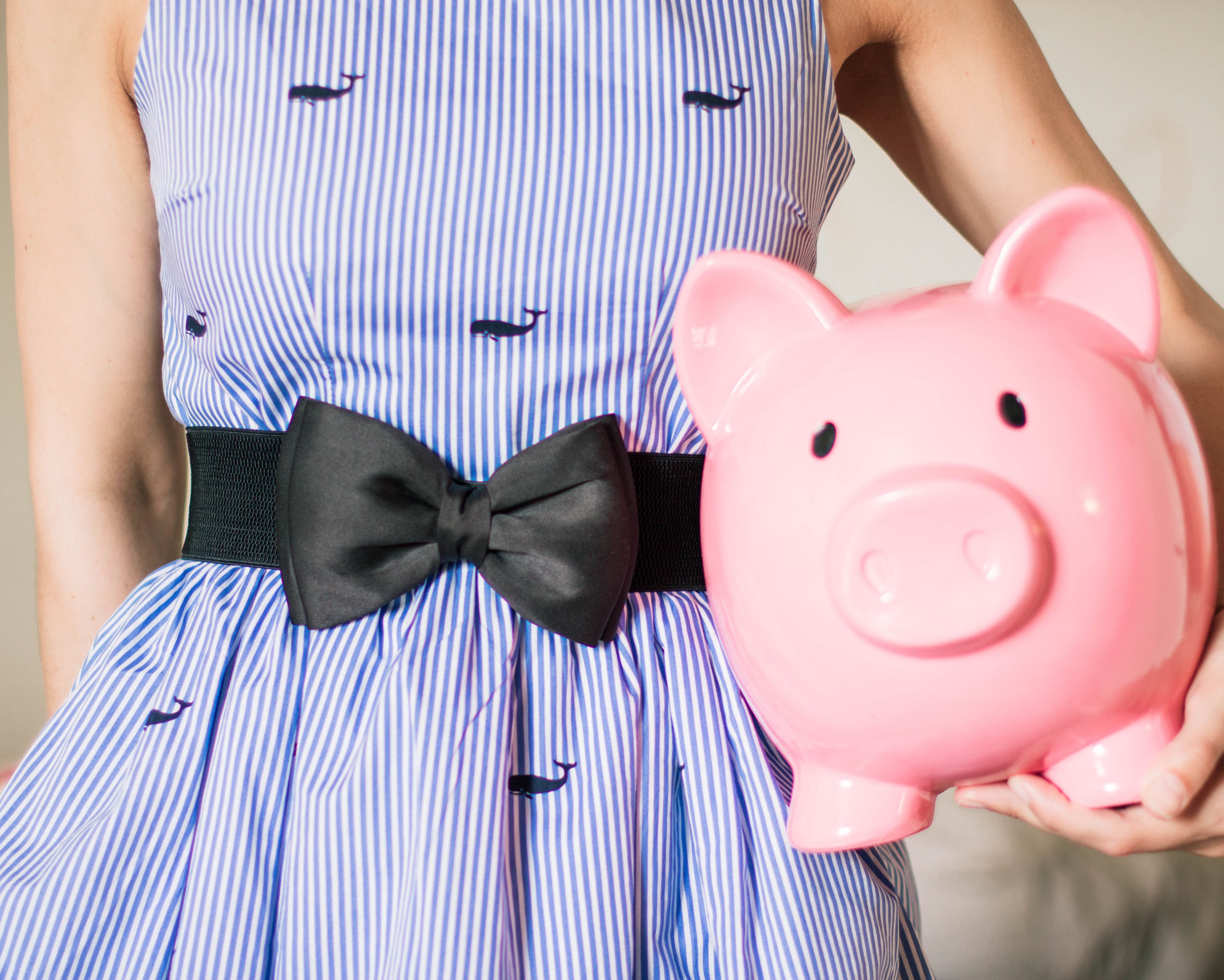 lady-in-stripped-dress-with-piggy-bank-701801